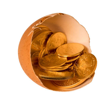 nestegg: Isolated selection of pure gold USA treasury coins in broken egg shell with path illustrating financial security of a retirement nest egg Stock Photo