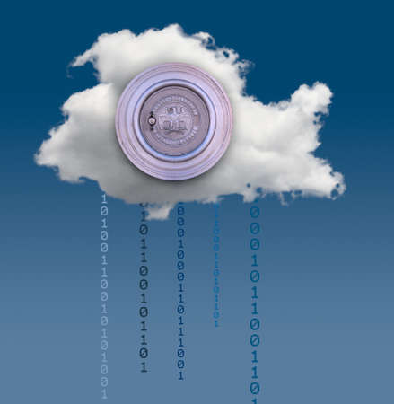 risky innovation: Concept image for cloud computing and online applications with a Federal Reserve bank vault showing security problems