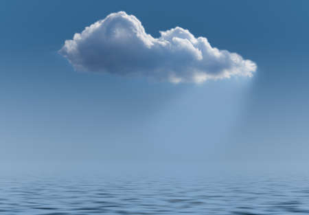 Concept image for cloud computing and online applications showing cloud wihth light flowing down to watery sea