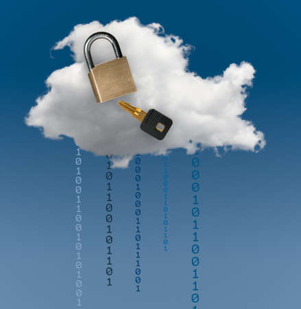 Concept image for cloud computing and online applications with a brass lock showing security problems