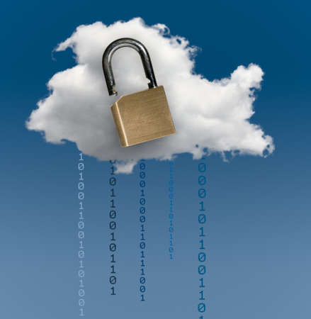 risky innovation: Concept image for cloud computing and online applications with a brass lock showing security problems