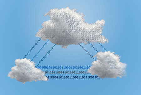 Concept image for cloud computing and online applications showing several different competing environments interconnected by data streams Stock fotó