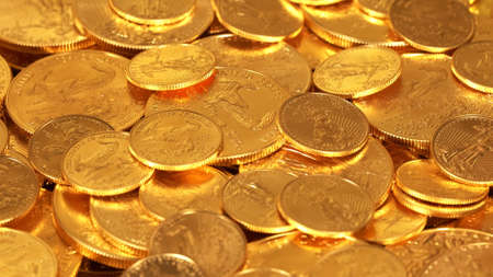 Gold Eagle one ounce coins lying on top of other golden money suggesting immense wealth