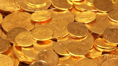 Gold Eagle une once de pièces de monnaie se trouvant au-dessus d'autres fonds d'or suggérant une immense richesse Banque d'images - 73300830
