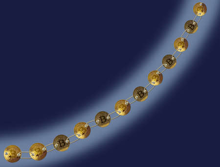 decentralized: Set of gold bitcoins linked by chain on blue background to illustrate concept of blockchain for supply chain management