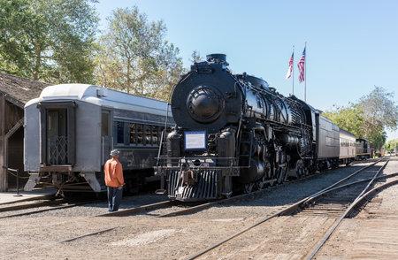 SACRAMENTO, CALIFORNIA - APRIL 23: Santa Fe design locomotive 5021 in California State Railroad Museum on April 23, 2017. The locomotive was built in 1944.
