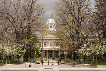 carson city: CARSON CITY, NEVADA - APRIL 24: Entrance to Nevada State Capitol Building on April 23, 2017. The building was finished in 1871.