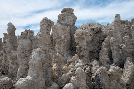 lee vining: Calcium Carbonate towers called Tufa in the heavily salty or saline waters of Mono Lake in California Stock Photo