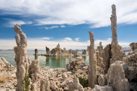 Calcium Carbonate towers called Tufa in the heavily salty or saline waters of Mono Lake in California Stock Photo
