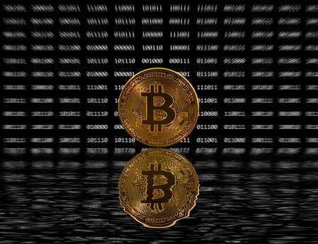 decentralized: Single gold bitcoin icon superimposed on zooming out black digital bit background. Reflection as though it is emerging from water or sinking underwater