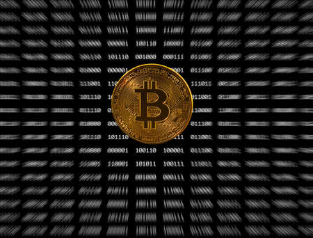 Single gold bitcoin icon superimposed on zooming out black digital bit background Фото со стока