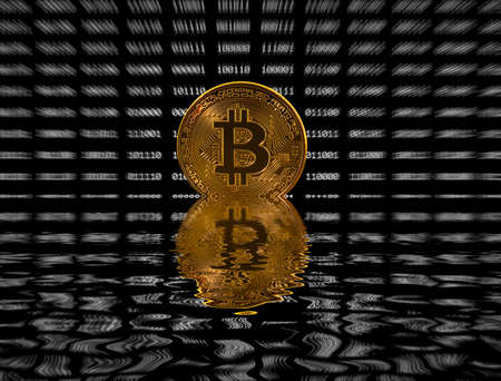 Single gold bitcoin icon superimposed on zooming out black digital bit background Stock Photo