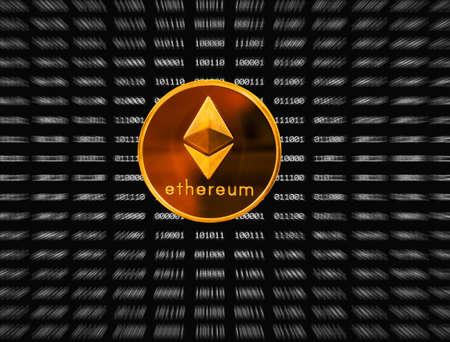 単一金エーテルまたは ethereum のアイコンをズーム アウト ブラック デジタル ビットの背景の上に重ね
