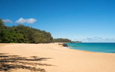 shorebreak: Golden sands with warm turquoise ocean off Lumahai Beach in Kauai in Hawaiian islands