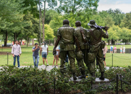 WASHINGTON, DC – JULY 8: The Three Soldiers statue on 8 July 2017 in Washington DC. The statue was created by Frederick Hart in 1984. Editorial