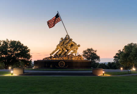 WASHINGTON, DC – JULY 9:  Floodlit Iwo Jima Marines monument at dawn on 9 July 2017 in Washington DC. The monument was dedicated in 1954. Editorial