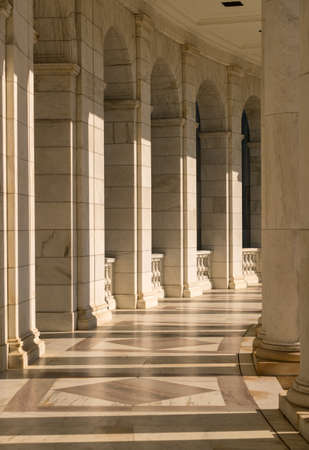 Columns in the Memorial Amphitheater in Arlington Cemetery outside Washington DC