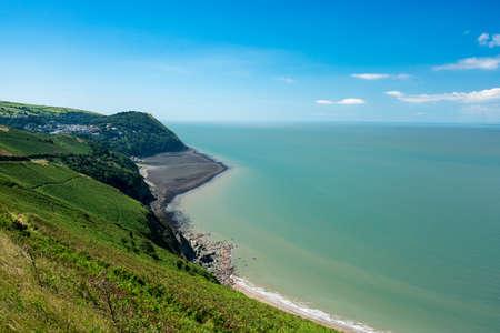 lynton: Coastline and ocean looking towards Lynmouth in North Devon, England