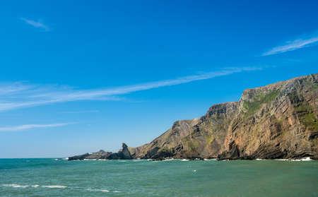 Unique rock formations in cliffs at Hartland Quay in North Devon, England