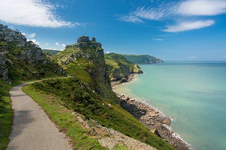Coastline and ocean at Valley of the Rocks in North Devon, England