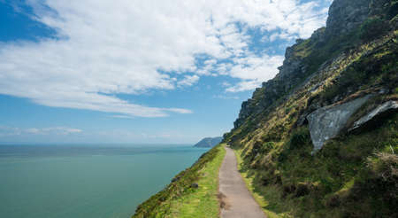 lynmouth: Coastline and ocean at Valley of the Rocks in North Devon, England