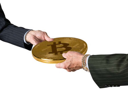 Hands of two financial traders gripping bitcoin in illustration of blockchain isolated against a white background