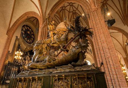 STOCKHOLM, SWEDEN - SEPTEMBER 9: Statue of St George and Dragon on September 9, 2017 in Stockholm, Sweden. The statue was carved in 1489 Editorial