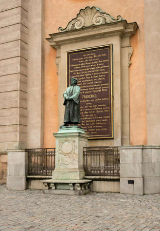 frederick street: Bronze statue to Friderici or Frederick by the Royal Palace in Gamla Stan, Stockholm Sweden Stock Photo