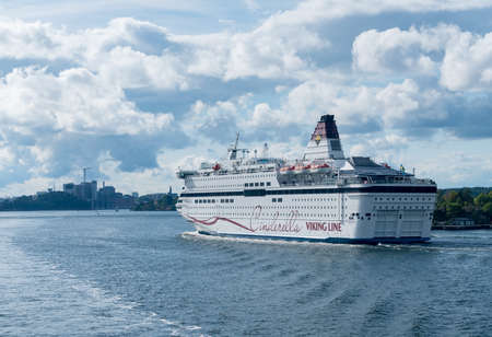 STOCKHOLM, SWEDEN - SEPTEMBER 10: Viking Line ship Cinderella on September 10, 2017 in Stockholm, Sweden. The ship was built in 1989.