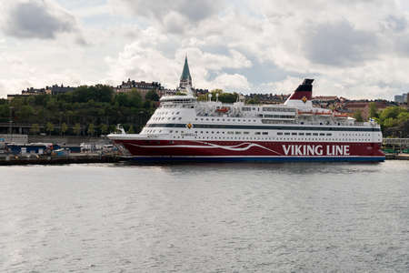 STOCKHOLM, SWEDEN - SEPTEMBER 10: Viking Line ship Gabriella on September 10, 2017 in Stockholm, Sweden. The ship sails each day to Helsinki.