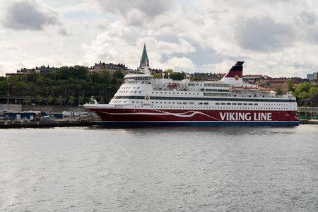 STOCKHOLM, SWEDEN - SEPTEMBER 10: Viking Line ship Gabriella on September 10, 2017 in Stockholm, Sweden. The ship sails each day to Helsinki.