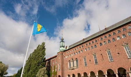 bandera de suecia: Exterior of the old City Hall in Stockholm Sweden, built in 1923