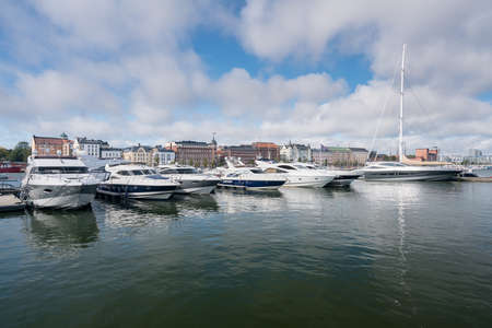 Large luxury power boats and cruisers in the harbor in Helsinki, Finland