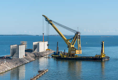 HELSINKI, FINLAND - SEPTEMBER 11:  Crane ship Maja on September 11, 2017 in Helsinki, Finland. The ship was built in 1980. Editorial
