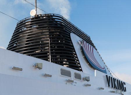 HELSINKI, FINLAND - SEPTEMBER 11: Funnel of Viking Star on September 11, 2017 in Helsinki Finland. The ship was built in 2015. Publikacyjne