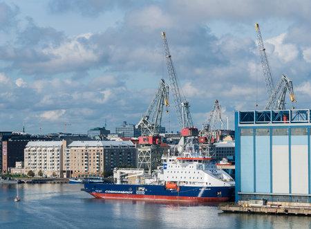 HELSINKI, FINLAND - SEPTEMBER 11: Ice breaking supply ship Stepan Makarov in port on September 11, 2017 in Helsinki Finland. The ship was built in 2017. Redakční