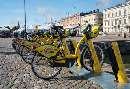 HELSINKI, FINLAND - SEPTEMBER 11:  Bicycles for rent on September 11, 2017 in Helsinki, Finland. There are 1400 Alepa bikes in the city.