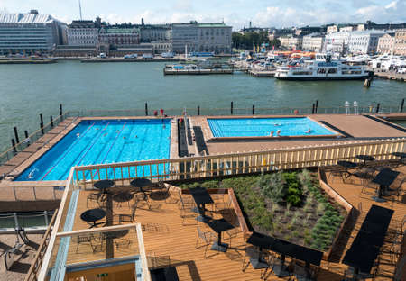 finnish bath: HELSINKI, FINLAND - SEPTEMBER 11:  Waterfront on September 11, 2017 in Helsinki, Finland. The Sea Pool is heated to 27C. Editorial