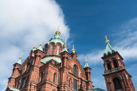 Gold domes on Eastern Orthodox Uspenski Cathedral in Helsinki, Finland Stock Photo