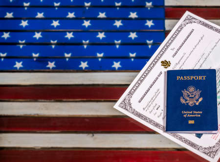 USA Passport And Naturalization Certificate Of Citizenship Over ...