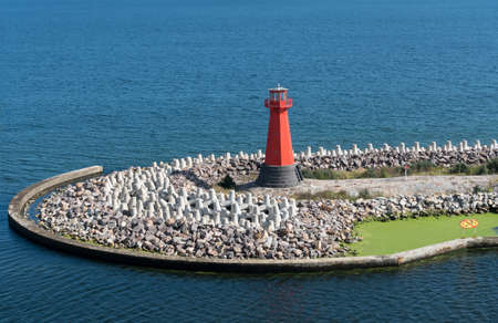 Lighthouse at entrance to the Nowy Port outside Gdansk, Poland