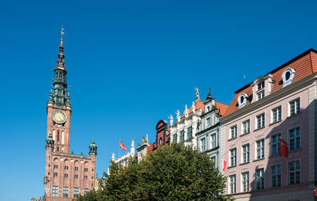 Front elevation of the restored Old Main Town Hall on Long Lane in Gdansk Poland Stock Photo