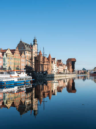 rebuilt: Riverfront to old town in Gdansk, Poland. The main buildings were rebuilt after the 2nd World War. Stock Photo