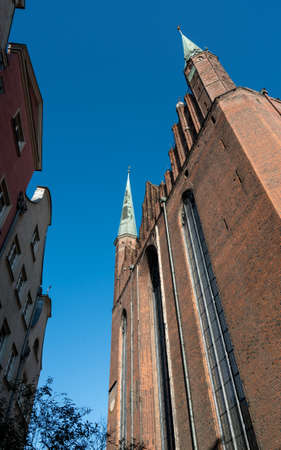 Brick exterior of the Basilica of the Assumption of the Blessed Virgin Mary in Gdansk, Poland Banco de Imagens