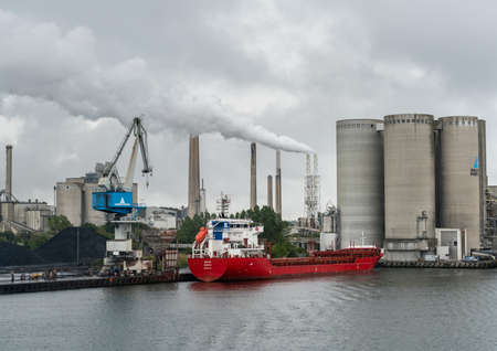 AALBORG, DENMARK - 19 SEPTEMBER: Aalborg Portland Cement factory on 19 September 2017 in Aalborg. The plant was founded in 1889