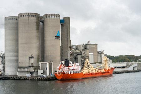 AALBORG, DENMARK - 19 SEPTEMBER: Danavik cement carrier ship docked on 19 September 2017 in Aalborg. The ship was built in 1983. Editorial
