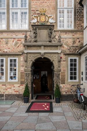 AALBORG, DENMARK - 19 SEPTEMBER: Jen Bangs House on 19 September 2017 in Aalborg. The house was built in 1674