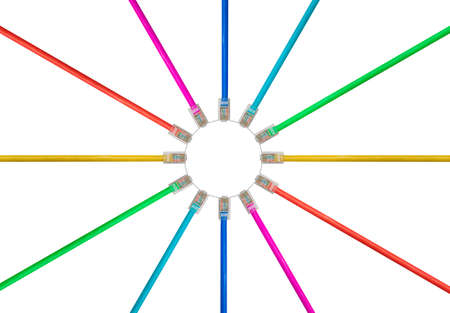 Different colored cat5e cables to illustrate the connection and speed of data on the internet