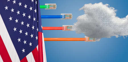 cables emerge with different lengths from US Flag to illustrate Net Neutrality debate in Congress Zdjęcie Seryjne - 90620993