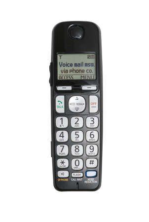 Top down isolated view of old wireless push button phone handset against a white background Stock Photo